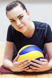 Sport Concept. Photo of a Beautiful Female Volleyball Player With Ball Royalty Free Stock Photo