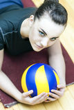 Sport Concept. Photo of a Beautiful Female Volleyball Player With Ball Royalty Free Stock Image