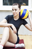 Sport Concept. Photo of a Beautiful Female Volleyball Player With Ball Stock Photography