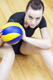 Sport Concept. Photo of a Beautiful Female Volleyball Player With Ball Stock Image