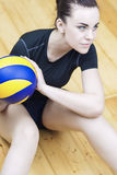 Sport Concept. Photo of a Beautiful Female Volleyball Player With Ball Stock Photos