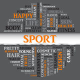 SPORT concept related words in tag round cloud, vector Royalty Free Stock Photo