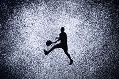 Sport concept, shape of man in action by powder. Part of a tenni Stock Photography