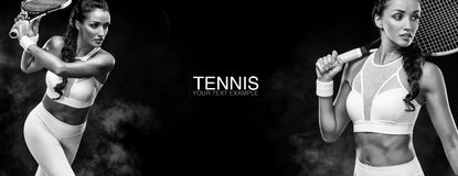 Sport concept. Sports woman tennis player with a racket. Copy space. Black and white photo. Tennis poster. Stock Images