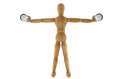 Sport concept. Wooden Dummy with Dumbbells Stock Photography