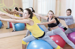 Sport Concepts. Group of Five Female Sportswomen Having Hand Stretching Exercises Stock Images