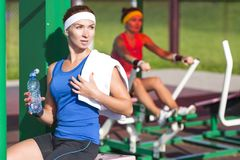 Sport concepts. Two positive caucasian female athlete in good fit Stock Image