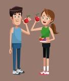 Sport couple apple diet Stock Photos