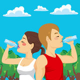 Sport Couple Drinking Stock Image