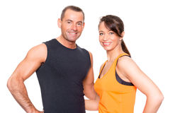 Sport couple. In front of white background Royalty Free Stock Images
