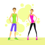 Sport Couple Man and Woman Athletic over Colorful Stock Photography