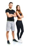 Sport couple - man and woman after fitness exercise Stock Photo