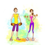 Sport couple man and woman hold dumbbells fitness Royalty Free Stock Photo