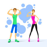 Sport Couple Man and Woman Show Bicep Muscles Stock Photos