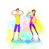 Sport couple man and woman show bicep muscles. Bodybuilder athletic over colorful paint splash background, vector illustration Stock Images