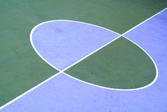 Sport court. Detail of midfield, with two colors Stock Photography