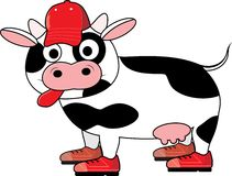 Sport cow. Cute cow in sports outfit Royalty Free Stock Photos