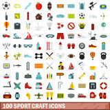 100 sport craft icons set, flat style. 100 sport craft icons set in flat style for any design vector illustration Royalty Free Stock Photography