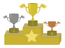 Sport cups. Illustration of three sport cups for first, second and third place on the podium. JPG, EPS Royalty Free Stock Photography