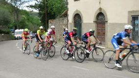 Sport cycling race for mountain amateurs stock video footage