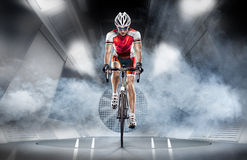 Sport. Cyclist. Has a traning in the wind tunnel Royalty Free Stock Images