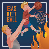 Sport d'enfants avec des parents - basket-ball Photos stock