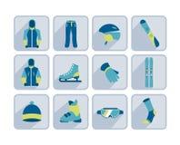 Sport d'hiver, skiant et augmentant l'icône plate Photographie stock libre de droits
