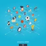 Sport 3d sieci zintegrowane ikony Cyfrowej sieci isometric pojęcie Obrazy Royalty Free