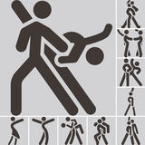 Sport dancing icons set Royalty Free Stock Images