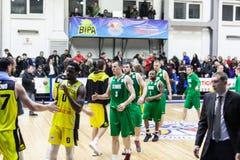 Sport de basket-ball en Ukraine, les moments actifs d'un jeu Images libres de droits