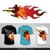 Sport de boxe avec le feu. Conception de T-shirt. Images stock