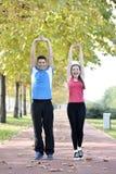 Sport de couples de coureurs Images stock