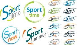 Sport de logo Folâtrez le temps, sport maintenant, été de sport Photo stock