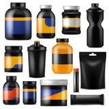 Sport de marquage à chaud de forme physique de vecteur de nutrition de bodybuilding supplément nutritionnel avec la protéine dans illustration stock