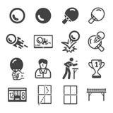 Sport de ping-pong et ensemble d'icône de récréation illustration libre de droits