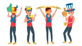 Sport de soutien Team Vector d'homme Différentes poses Les gens sur le football, le football, grandins de champ d'hockey Dans l'a Illustration de Vecteur