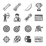 Sport de tir à l'arc et ensemble d'icône de récréation illustration libre de droits
