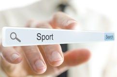 Sport de Word écrit dans la barre de recherche images stock