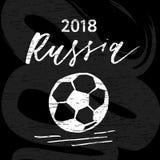 Sport dell'illustrazione della spazzola della palla di vettore della bandiera di calcio illustrazione vettoriale