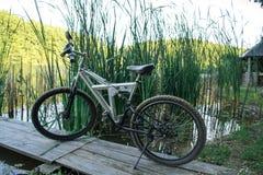 Sport della bicicletta sulla natura vicino al fiume immagini stock