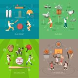 Sport Design Concept. Set with cricket golf baseball and basketball game flat icons isolated vector illustration Royalty Free Stock Images
