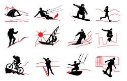 sport deux de silhouettes de joueurs de graphismes du football de bille Photographie stock libre de droits