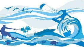 Sport di acqua - cervo volante che pratica il surfing, corsa con gli sci di acqua, jet Immagine Stock