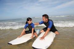Sport di acqua in famiglia Fotografie Stock