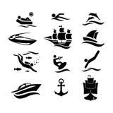 sport Sport di acqua Sport di acqua Icone impostate Illustrazione di vettore royalty illustrazione gratis