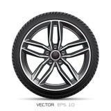 Sport di alluminio di stile della gomma di automobile della ruota sul vettore bianco del fondo Immagini Stock