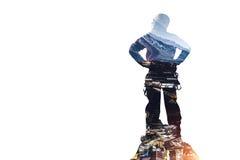 Sport di alpinismo come concetto Media misti Fotografia Stock Libera da Diritti