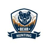 Sport di caccia o club del cacciatore, icona di vettore dell'orso Fotografia Stock