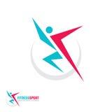 Sport di forma fisica - vector l'illustrazione di concetto del modello di logo carattere umano Figura corrente astratta dell'uomo illustrazione di stock
