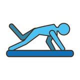 Sport di pratica dei pilates dell'uomo del pittogramma Fotografia Stock Libera da Diritti